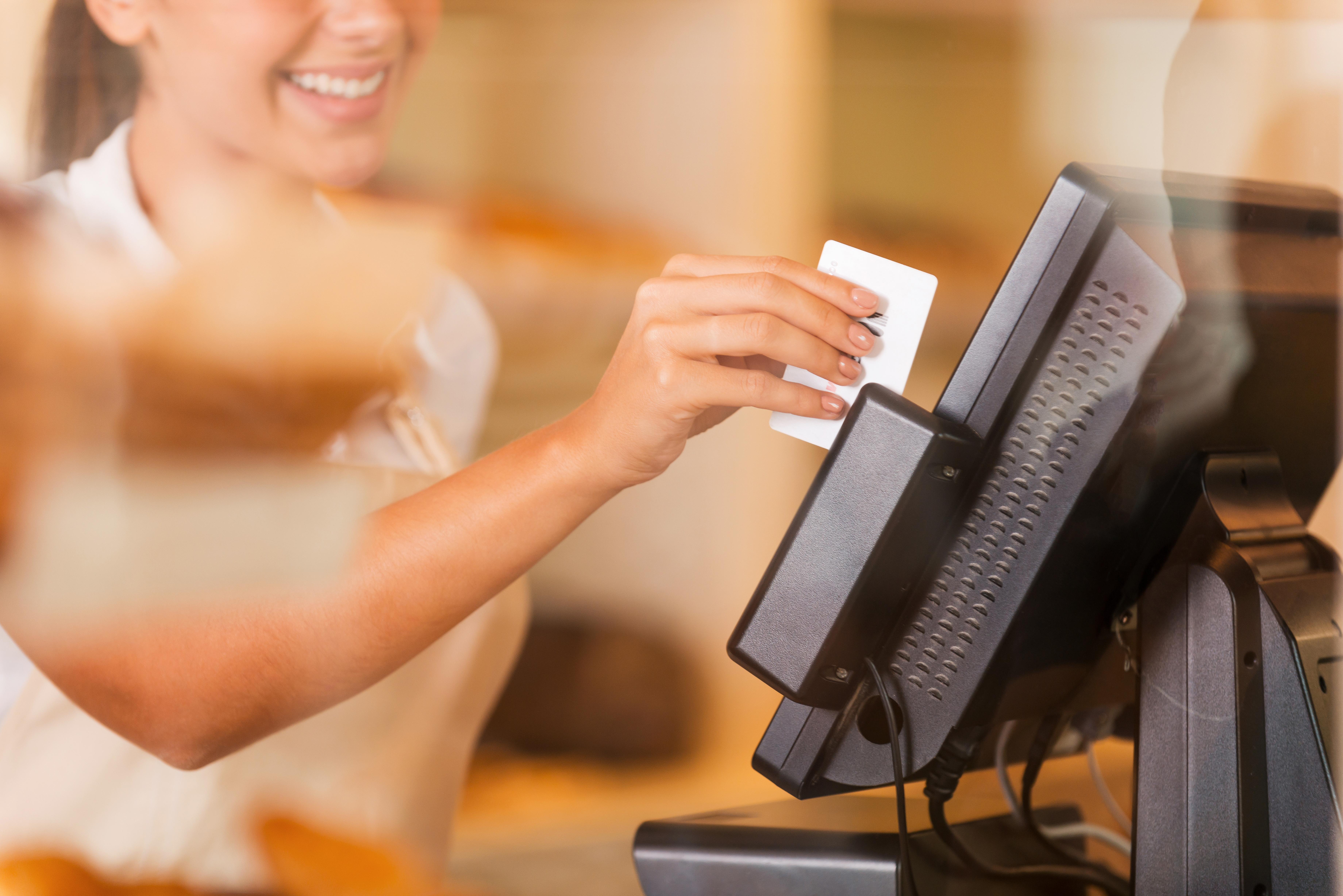 Cashier at work.